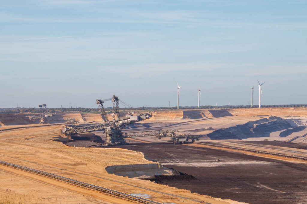 A view of the lignite mine Garzweiler II, in Northrhine-Westphalia, Germany